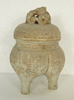 Old Han Dynasty Hetian White Jade Pot Pot Ding Religion Statue Chinese Antique