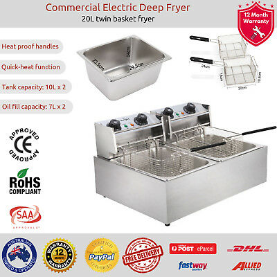 5-Star Chef Electric Commercial Deep Fryer Twin Frying Basket Chip Cooker 5000W