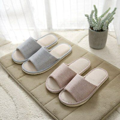 Soft Couple Indoor Floor Slippers Non-slip Floral Warm Linen House Home Shoes AU