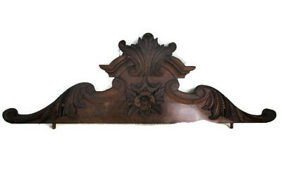 Large Hand Carved Pediment Ornate  Over door Architectural  Flower Reclaimed