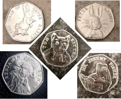 5 Various Character, Peter Rabbit & Friends Uncirculated 50p Coins, 2016/2017