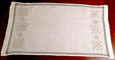 Vintage Hand Embroidered Cream & Taupe Linen Table Centre Runner Cloth 32x17""