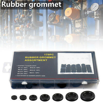 170 Pcs Rubber Grommet Assortment Kit Set Firewall Hole Electrical Wiring Gasket