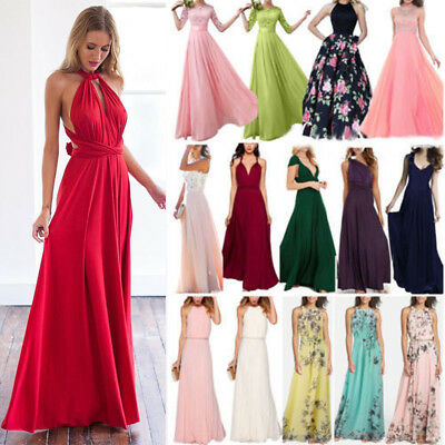 Womens Bridesmaid Formal Long Dress Maxidress Prom Cocktail Wedding Robe Gown AU
