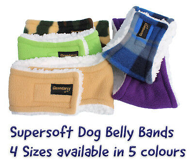 Glenndarcy Dog Belly Band Wrap - Supersoft Lambs Fleece - Urine / Scent Marking