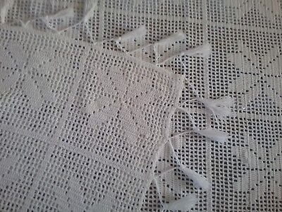 Vintage Handmade Off White Rectangular Filet Crochet Table Cloth