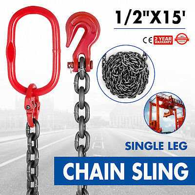 "1/2"" x15' GRADE 80 Chain Sling SOG Building Breaking Load 41880lb Powder Coating"