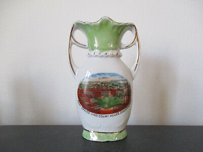Circa 1915 Souvenir Porcelain Vase Post Office Court House Duluth Minnesota