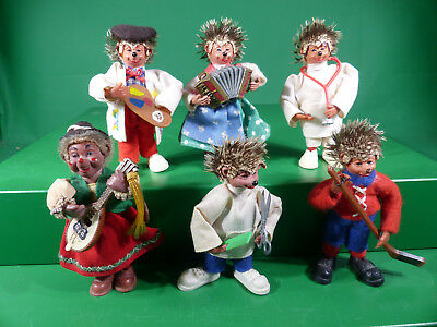 6x Peter Mecki Biegefiguren - Made in Austria - 1960er Jahre