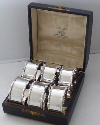 Boxed Set 6 Rare 1911 Hallmarked Solid Silver Napkin Rings Serviette Ring
