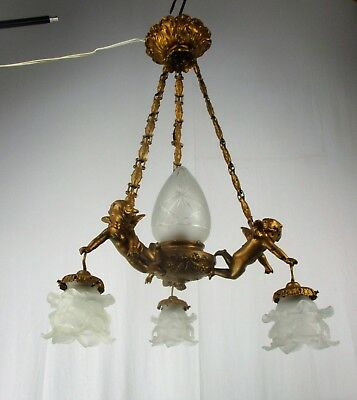 French Chandelier 3 Lights Arms Tulip Shades Etched Glass Putti Brass France WOW