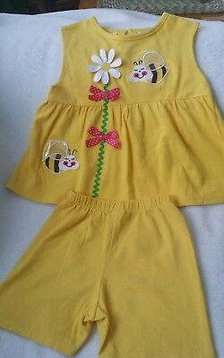 Vintage Young Hearts Girls Short Shirt set size 6 Tall Bumble Bee Daisy Yellow
