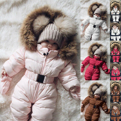 Hot Toddler Baby Boy Girl Winter Romper Jacket Hooded Jumpsuit Coat Outfit