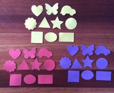 "30 x FOAM SHAPES ""PACK 2 PURPLE, RED, YELLOW"", 3 colours, 10 shapes"