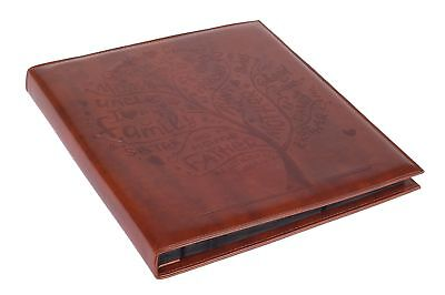 Brown Faux Leather Family Photo Album with Embossed Tree – Holds 500 4x6 Phot...