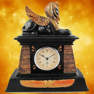 Table Clock Lion Sphinx Polystone Coloured Gift Mantle Watch Egypt Housekeeping