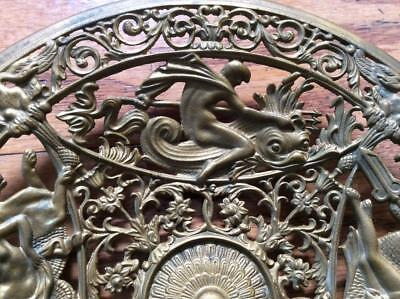 Antique Coalbrookdale Cast Iron figural plaque swan dolphin Poseidon Neptune sea