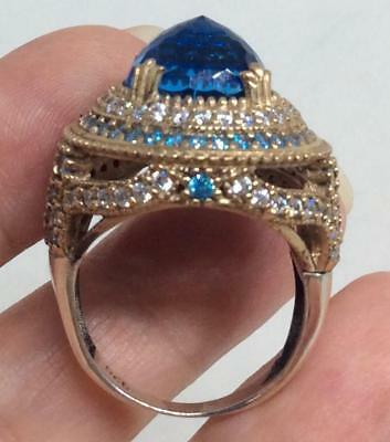 Antique/Vtg Byzantine 10ct Blue topaz Sterling & gold vermile Ring 8.5 Ottoman
