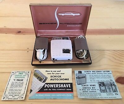 Vintage Schick Powershave Electric Razor for Auto Home w/Case Advertisements 50s