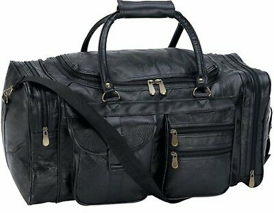 Black Pebble Grain Leather Tote Duffle Carry on Gym Luggage Overnight Hand-Sewn