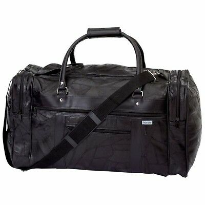 Black Leather Tote Duffle Gym Carry On Sport Luggage Travel Overnight Bag