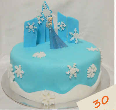Tremendous Edible Snowflakes Frozen Cake Topper Snow Castle Quick Easy Funny Birthday Cards Online Inifodamsfinfo