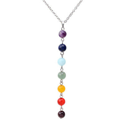 Seven Gemstone Bead Chakra Reiki Yoga Meditation Healing Necklace Pendant CB