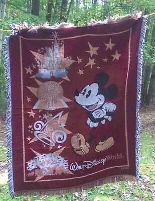 "Disney World Parks Mickey Mouse Walt Disney Tapestry Throw Blanket 48""x 60"""