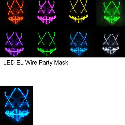 Scary Blood Light Up Masks Stitches LED Costume Mask Halloween Rave Cosplay New