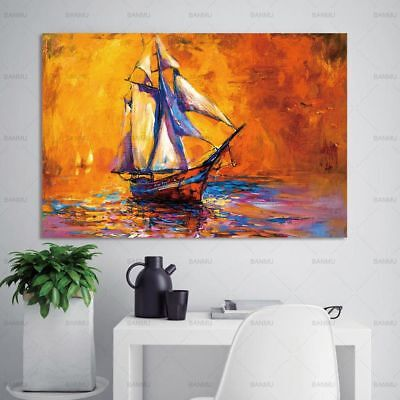 Frameless Sea Flower Landscape Canvas Painting Wall Art Pictures Home Decor