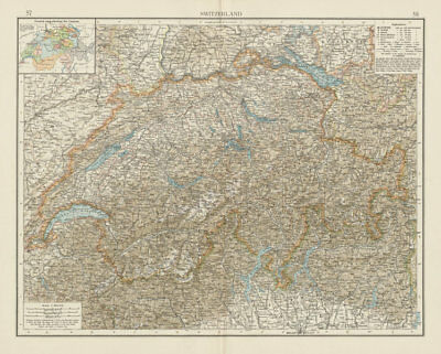 Switzerland & the Western (French, Swiss, Italian) Alps. THE TIMES 1900 map