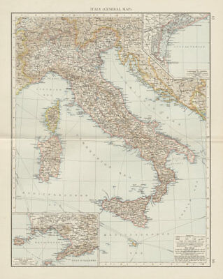 Italy (general map). Lagoons of Venice. Environs of Naples. THE TIMES 1900