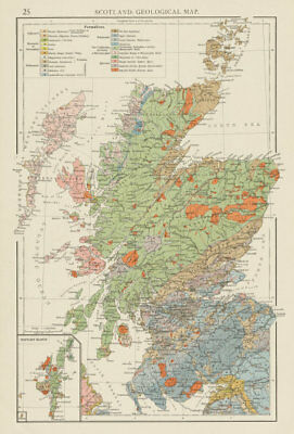 Scotland, Geological map. THE TIMES 1900 old antique vintage plan chart
