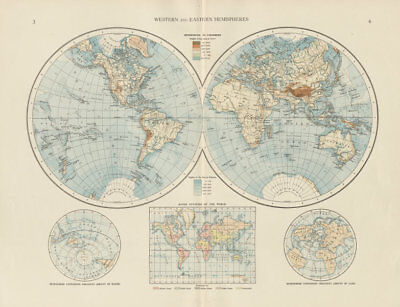 World twin hemispheres. Western and Eastern. THE TIMES 1900 old antique map