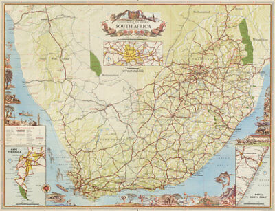 Touristic map of the Republic of South Africa 1965 old vintage plan chart