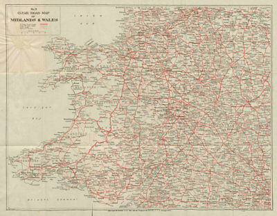 No.3 Clear Road Map of Midlands & Wales. GEOGRAPHIA c1935 old vintage