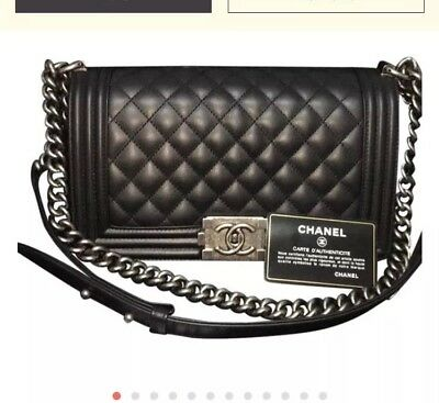 b25574eb3c1b0 Authentic Chanel Le Boy Black With Silver Medium Lambskin Leather Never Used