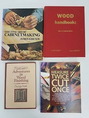 Lot of 4 Woodworking Books Finishing, Measuring/Cutting, Material, Cabinetmaking