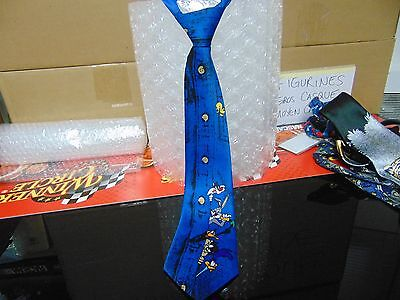 """Men's TIE - Polyester Hand Made Blue with """"LOONEY TUNES"""" - Pre-Owned/Gently Worn"""