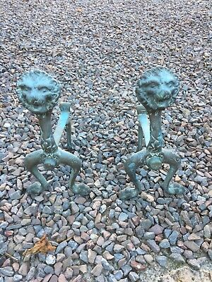 Pair of Victorian Brass Lion Head  Fire Dogs / Andirons