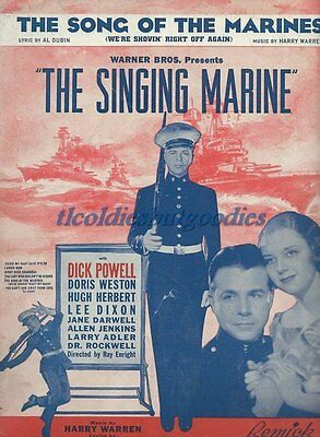 1937 The Song Of The Marines Dubin Dick Powell Rare Antique Original Sheet Music