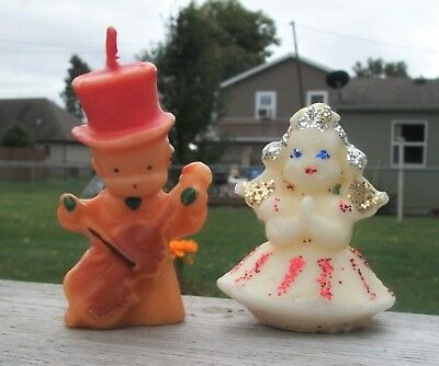 2 Vtg Gurley Christmas CANDLES w SNOWMAN Playing Cello & Praying ANGEL w Wings