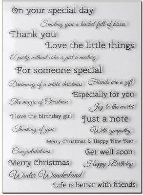 NEW Multi Sentiments Clear Stamp Set - contains 22 various sentiment stamps