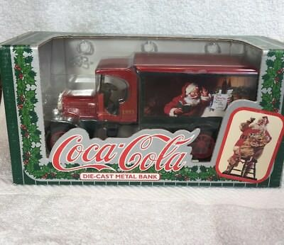 VINTAGE 1993 COCA COLA DIE CAST METAL CHRISTMAS SANTA CLAUS BANK TRUCK Unopened