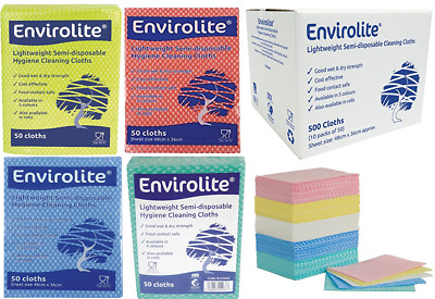 100 x Envirolite Folded Cleaning Cloth Large (48 x 36cm) Blue/Red/Green & Yellow