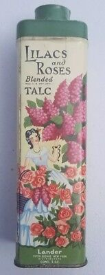 Vintage  Lilacs and Roses Blended Talc Powder Tin
