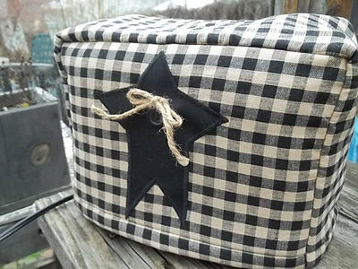 Toaster Cover Black Tan Rustic Star Americana Fabric Quilted 2 Slice