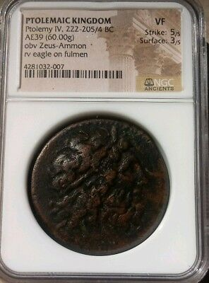 Ptolemaic Kingdom Ptolemy IV AE39 Huge Coin NGC VF 5/3