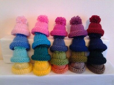 Hand Knitted Egg Cosy/cosies  Small Hats Set Of 5.