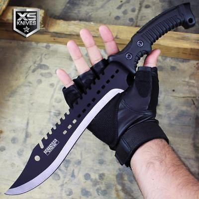 "15.25"" Black Havoc COMBAT Tactical RUBBER GRIP Bowie Knife Survival Hunting SICK"